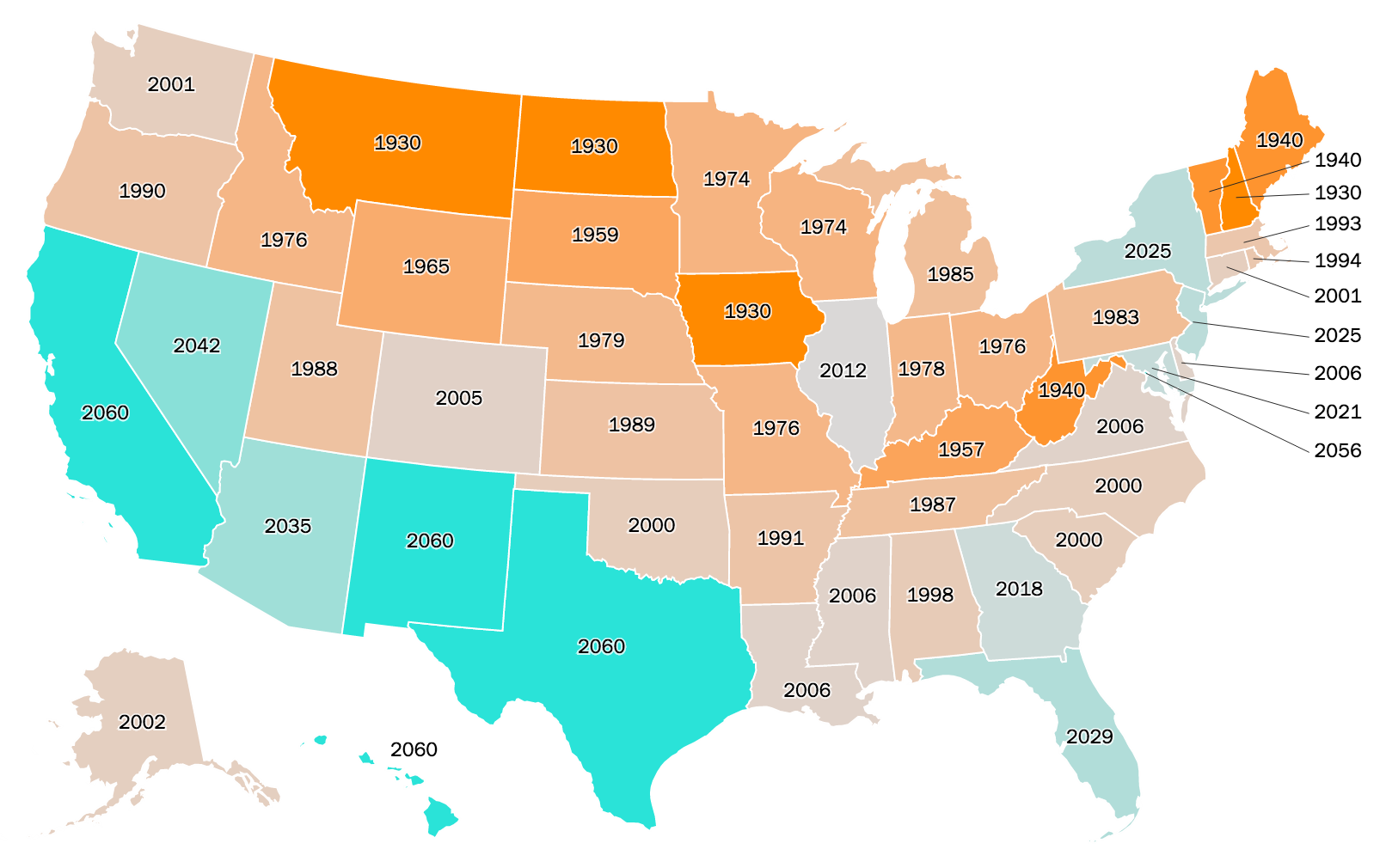 united states demographics map Find Out if Your State Is America's Past or Future | TIME Labs